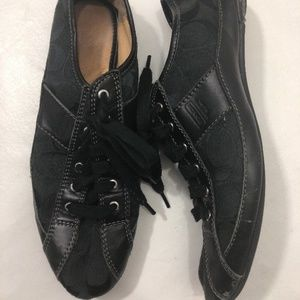 Coach Suee Flat Shoes Womens 8 Black Logo Lace Up
